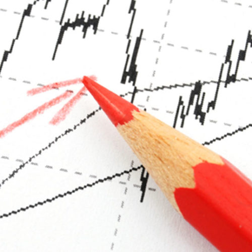 red pencil on stock chart