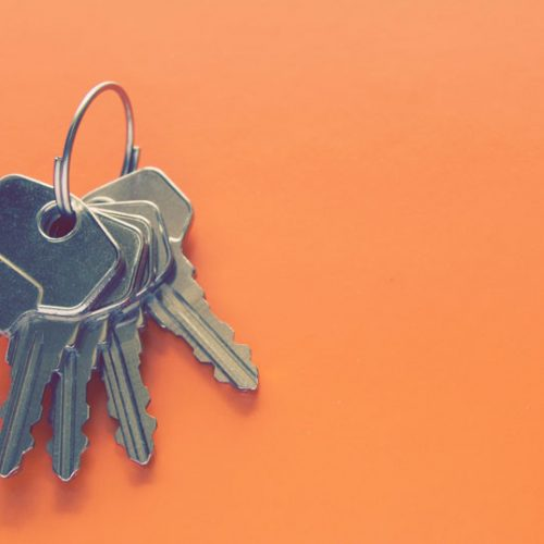 keys on orange background